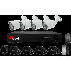 EVK-X4-BQH10B, комплект AHD видеонаблюдения на 4 уличные камеры, 720P, 2.8 мм